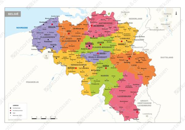 Kaart met provincies België
